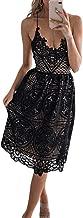 FUZEELY Women's Sexy Lace Spaghetti Strap V-Neck High Waist Back Cross Knee-Length Applique Lantern Dress