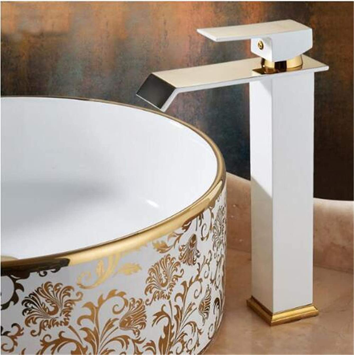 Decorry gold and White color Waterfall Faucet Tall Bathroom Faucet Bathroom Basin Faucet Mixer Tap Hot and Cold Sink Faucet,B