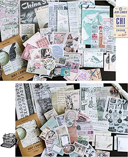 WJGJ 72 Stück Vintage Scrapbooking Sticker Pack, DIY Dekorative Antik Retro Natural Collection Papieraufkleber für Journaling Tagebuch Planer Album Notebook Kartenherstellung Laptop