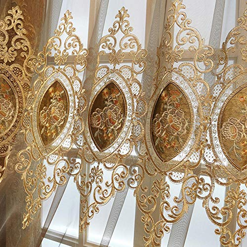 WBXZAL Jacquard Vorhänge, Chenille Stickerei Vorhang, Blackout Blickdicht Vorhang, Wohnzimmer Schlafzimmer, Bodenvorhang, gardinen mit ösen, 2er Set-Tüll Vorhang_2 × 2,6 m (B × H) × 2