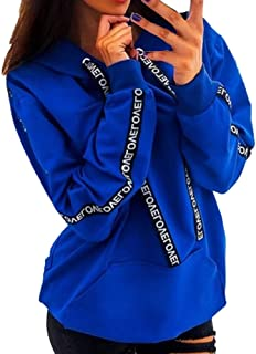 Aniywn Plus Size Hooded Sweatshirts for Women Letters Print Long Sleeve Pocket Casual Solid Pullover Outwear