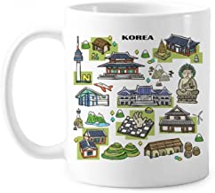 Famous Tourist Attractions in South Korea Classic Mug White Pottery Ceramic Cup Gift With Handles 350 ml