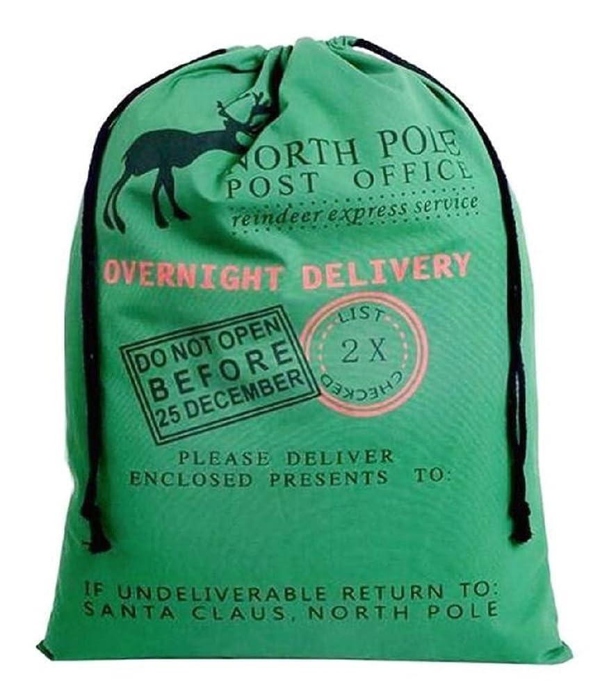 Large Christmas Bags Santa Sacks ~ Reusable Cotton Sack Designs - Green North Pole Post Office Design - 27