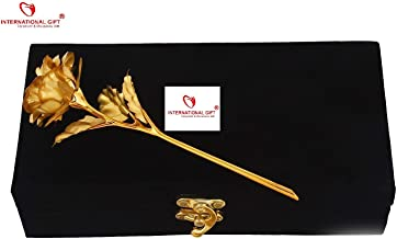 Gold Rose 25 cm with Black Velvet Box Packing