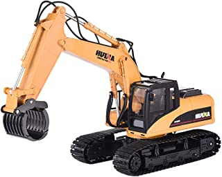 ASfairy 1/14 RC Truck Timber Grab Loader Crawler Material Handler Alloy Gripper Engineer Machine 2.4G Construction Vehicle Remote Control Tractor Excavator with Recharging Battery Hobby Toys for Kids