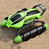 XSLY Amphibious Amphibious RC Terrain Twister Boat 8 Channels 4WD 2.4G Remote Control Tank Waterproof Land Water 2 in 1 RC Off-Road Car Vehicle Landing Waterway Radio Ship Kids Gift