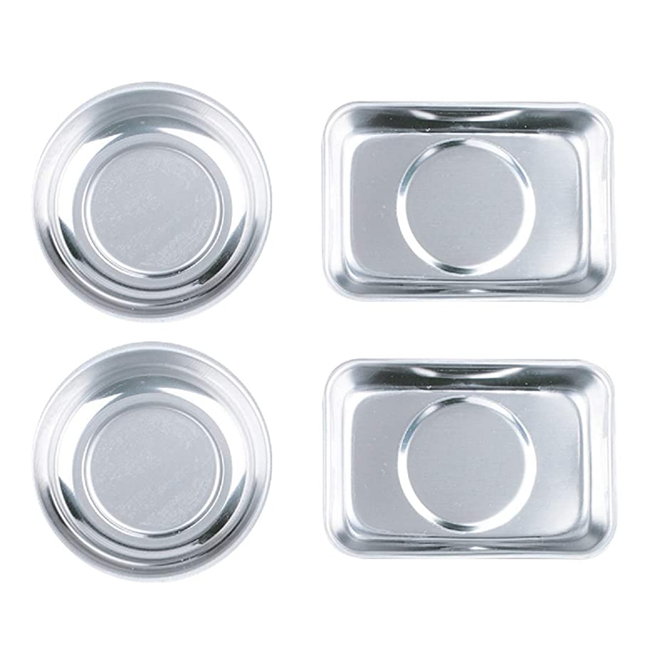 HORUSDY 4-Piece Magnet Trays Set, Round/square Magnetic Trays Tools Parts Tray Holder