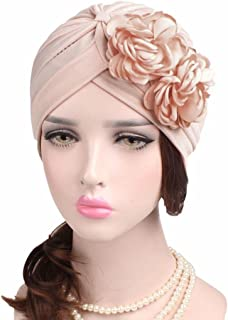 59187e899d2149 QingFan Women Muslim Solid Flowers Cancer Chemo Hat Turban Headbands Hair  Loss Wrap Cap