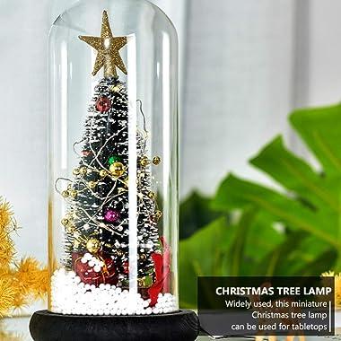 Uonlytech Snow Globe Glitter Dome Christmas Tree Lamp Decorative Lighted Up LED Snow Globe Atmosphere Light Xmas Winter Holid