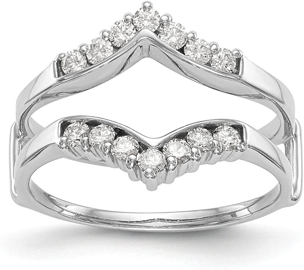 14k White Gold Diamond Guard Size 7.00 Ring Engagement Wrap Bridal Fine Jewelry For Women Gifts For Her