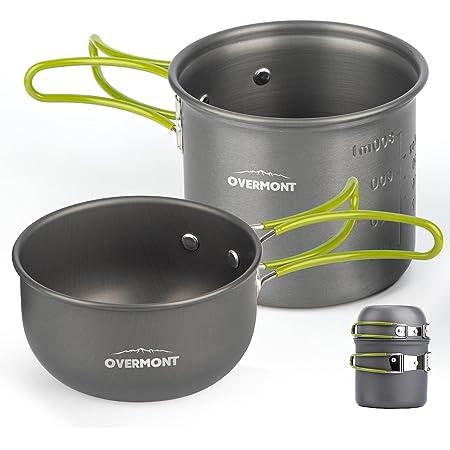 Overmont DS-101 アルミ クッカーセット アウトドア鍋 キャンピング 調理器具 食器 2点セット 収納袋付き