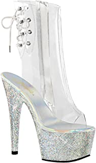 158760876 Summitfashions Womens Mid Calf Boot Silver Rhinestone Shoes Clear Platform  Booties 7 Inch Heel