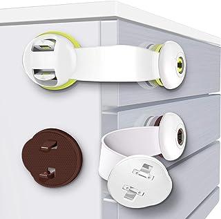 Yosemy 10 Pieza Cerraduras de Seguridad para Niños Extra Fuerte 3 M Adhesivo Bloqueo de Seguridad Cierres para Armarios Nevera Cocinas Puertas y Ventanas, Blanco y Marrón