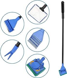 Senzeal 5in1多機能水槽掃除ツール 水槽スクレーパー アクアリウムクリーニングツールセット(水槽スクレーパー、360度回転水槽ワイパー、水草クリップ、レーキ、ゴミ取りネット付き) (普通)