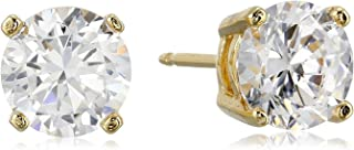 cubic zirconia stud earrings 14k gold
