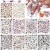 EBANKU 10 Fogli Adesivi per Unghie, San Valentino Nail Stickers Autoadesivi Unghie Decalcomanie Decorazione Unghie Nail Art Adesivi Unghie Fai da Te