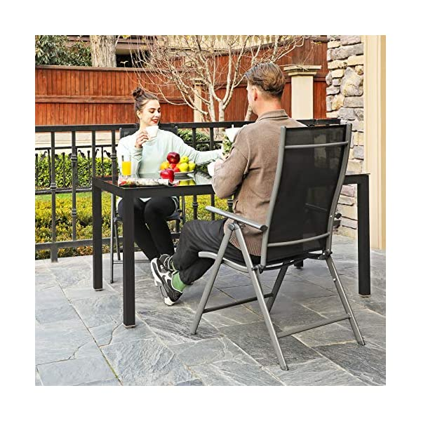 SONGMICS Gartenstühle, 2er Set, Klappstühle, Outdoor-Stühle mit robustem Eisengestell, Rückenlehne 8-stufig verstellbar…