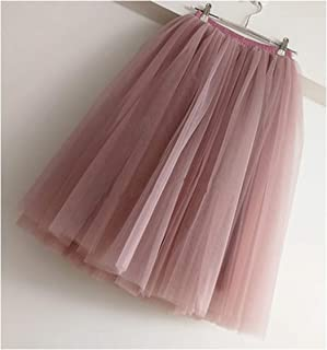 74405c8f97 7 Layers Knee Length Tulle Skirt Tutu Women Skirt High Waist Pleated Skirt