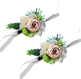 Yokoke Artificial Peony Silk Flower Boutonniere Bouquet Corsage Wristlet Vintage Fake Succulent Plants Pink Peach For Wedding Decor 2 Pc (wristlet)