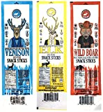 Pearson Ranch Wild Game Meat Sticks – Variety Pack of 3 – (Each 4oz contains 4 - 1oz sticks) – Elk, Venison, Wild Boar Game Jerky Sticks - Gluten-Free, MSG-Free, Keto and Paleo Friendly
