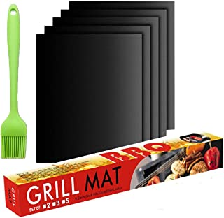 CityFarmer BBQ Grill Mat, Non-Stick, Heavy Duty, Reusable, and Easy to Clean, Works on Gas, Charcoal, Electric Grill and More, FDA-Approved, PFOA Free (4 Pack), with A Free Bonus Brush