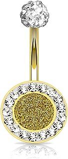 PSUM Unisexo Piercing En El Ombligo Purpurina Acero Inoxidable Chapado En Oro Cristal 1.6mm x 10mm HBJ-NSZ-1135