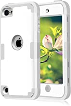 Case for iPod Touch 2019 iPod 5 6 7 Case, Dual Layered 3 in 1 Hard PC Case + Silicone Shockproof Heavy Duty High Impact Armor Hard Case Cover for Apple iPod Touch 5th 6th 7th Generation (White+Gray)