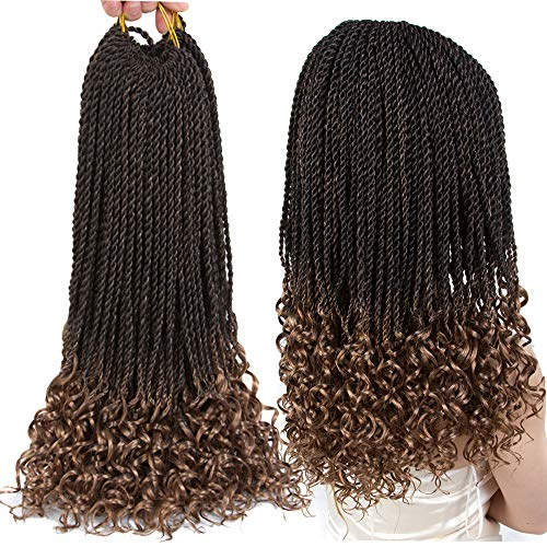 Senegalese Twist Crochet Hair Wave Curly Synthetic Braiding Braids Hair High Temperature Kanekalon Ombre Hair Extensions 6Packs 30Strands/Pack (18, T1B/27)………