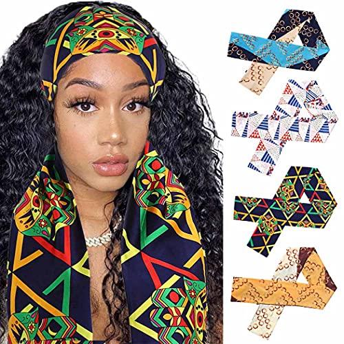 IYOU Bufanda de satén con borde de cadena negra, bufanda africana, vintage, con asa de mano, bufandas, para yoga, deporte, borde, para mujeres, niñas, pelucas, 4 unidades