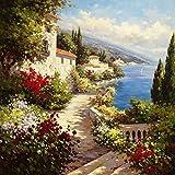 Feeling at home Lienzo-con-AMERICANO-BOX-Coveside-Harbor-Andino-Floral-Fine-Art-impresión-sobre madera-marco-Cuadrado-28x28_in
