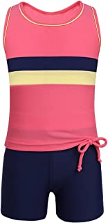 JEATHA Kids Girls 2PCS Sleeveless Tankini Swimwear Tank Top with Booty Boyshort Set Swimsuit Bikini Bathing Suit