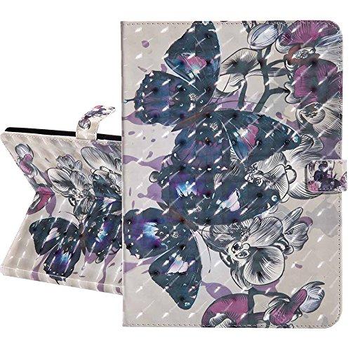 iPad 4 / 3 / 2 Hülle, Premium 3D Glänzend Gemaltes Muster PU Leder Flip Brieftasche Cover Schlank Ständer mit Auto Schlaf / Wach Funktion Schutzhülle für Apple iPad 2 / 3 / 4, 3D schön Schmetterling