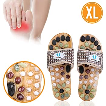 Acupressure Massage Slippers with Earth Stone, Therapeutic Reflexology Sandals for Foot Acupoint Massage Shiatsu Arch Pain Relief, Fit Men 10-11.5 Feet Size