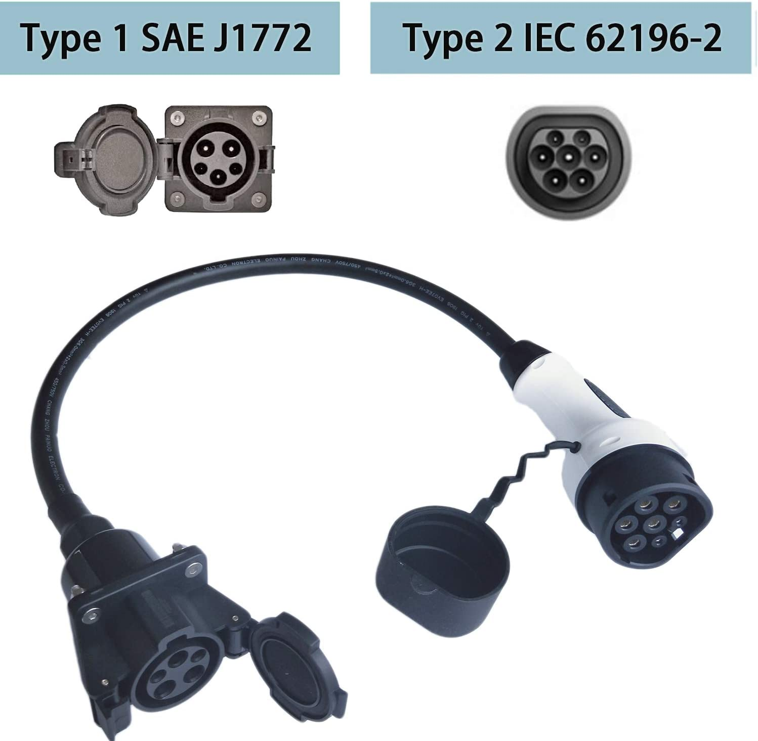 K.H.O.N.S Mennekes Type 2 Plug. 0.5M Black cable EV Adapter Type 1 To Type 2 Electric Car Charging Cable 32A EV Adapter For Type 2 EVS
