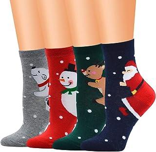 MrTom, MrTom 4/5PCS Calcetines de Navidad, Calcetines de Algodón Térmicos Invierno Mujer Calcetines de Estar por Casa Navideños con Patrones de Papá Noel Reno Copo de Nieve y Muñeco de Nieves MT09