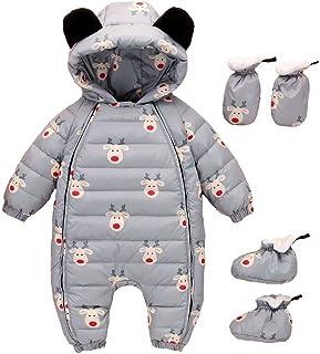 5158704b5fc86 Evedaily Bébé Fille Garçon Combinaison Hiver Chaude Barboteuse à Capuche  Manteau Vêtement d hiver avec