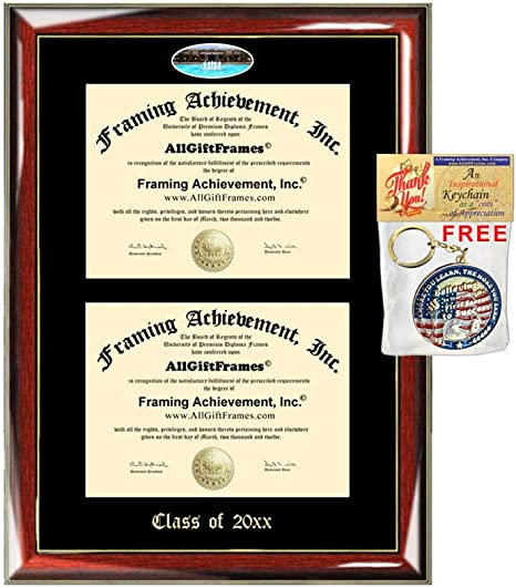 Allgiftframes Double Certificate Frame Ucf University Of Central Florida School Embossed Fisheye Campus Photo Dual School Two College Majors Custom Diploma Holder