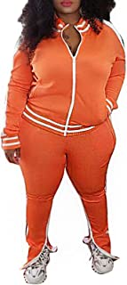 Womens Plus Size Two Piece Tracksuit Club Outfits Sweatsuit Stripe Patchwork Long Sleeve Skinny Pants Split with Zipper