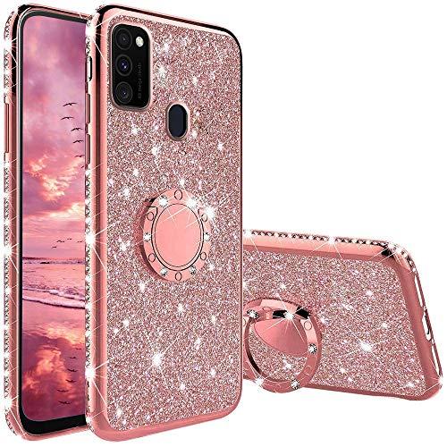 XTCASE Hülle für Samsung Galaxy M21 / M30s, Glitzer Bling Glänzend Strass Diamant Handyhülle mit 360 Grad Ring Ständer Superdünn Stoßfest TPU Silikon Tasche Schutzhülle - Rosé Gold