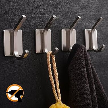 YIGII Towel Hook/3M Hooks - Adhesive Hooks Bathroom Wall Hooks Bath Show Robe Hook Self Adhesive Coat Hook Stick on Wall Stainless Steel Brushed 4-Pack