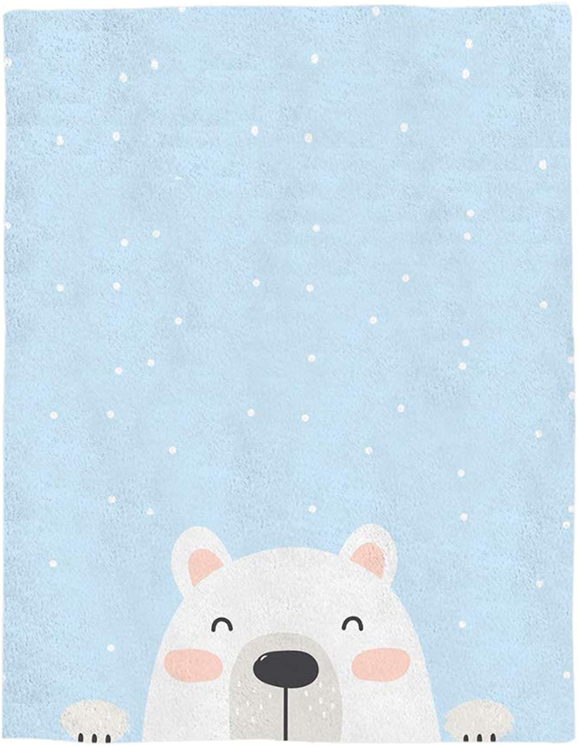 COLORSUM Cute Bear Soft Plush Throw Blanket 50x60 inch Printed Flannel Fleece Blanket Bedroom Living Room Couch Bed Sofa  Baby Cartoon Animal bluee Background