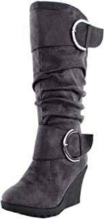 Pure 2 Womens Buckle Slouch Wedge Boots
