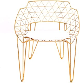 ch-AIR XL- Bertoia Style Diamond Chair, Metal Leisure Wire Chair Lounge Patio Chair, Gold