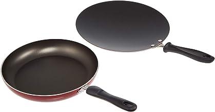 Prestige 2724558585731 26 cm Frypan and 30cm Concave Tawa Pan Set, Red, Aluminum