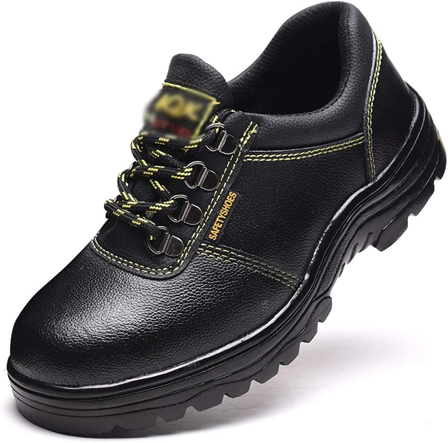 Predective shoes, Anti-static Safety shoes Men's Outdoor Work shoes With Leather shoes, Cricket shoes (color   Black, Size   44)