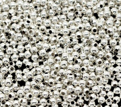 SiAura Material 3000 Stück Metallperlen 2mm mit 1mm Loch, Rund, Silberfarben zum Basteln