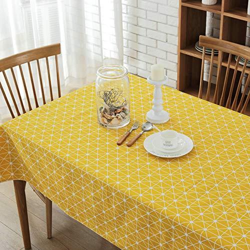 Morbuy Rectangle Mantel de Lino algodón Antimanchas, Stripe Mantel Rectangular de para el Restaurante del Hotel de casa Restaurante Multicolor Decoración (100 * 140cm, Conexión Amarilla)