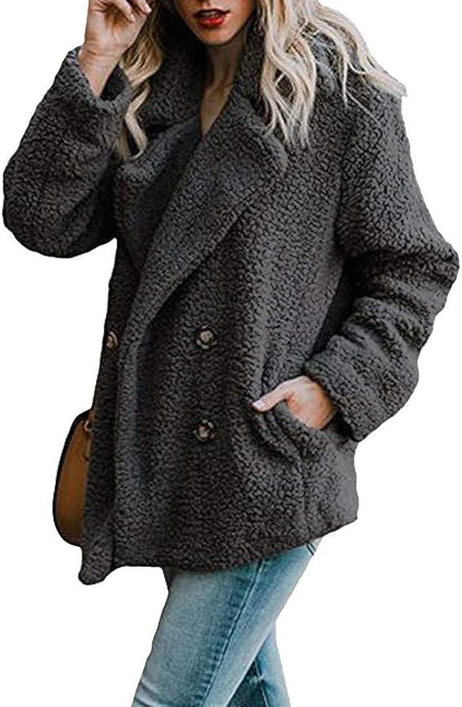 MRULIC Damen Jacke Faux Pelz Warm Kunstfigur Langarm Kurzmantel Felljacke Tops Frauen Casual Winter Wärme Parka Weihnachten Outwear RI-004 Schwarz