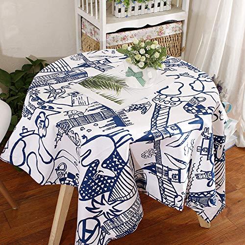 Haoxp Eenvoudige stijl, veelzijdig voor binnen en buiten stofdichte tafelkleden, Cartoon katoen tuintafel doek koffietafel afdekking handdoek cafe ronde tafelkleed - gebouw, 90 * 150cm