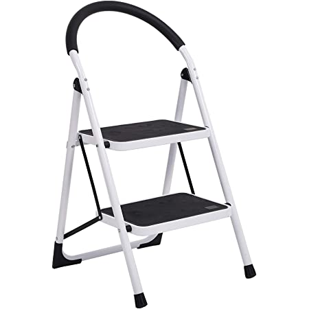 Sturdy Heavy Duty Folding Mini Ladder for Kitchen Closet Joysale Small Step Ladder 2 Step Stool for Adults 330lbs